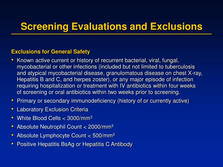 Screening evaluations and exclusions
