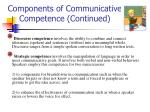components of communicative competence continued