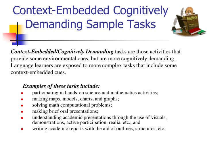 Context-Embedded Cognitively Demanding Sample Tasks