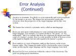 error analysis continued