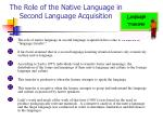 the role of the native language in second language acquisition