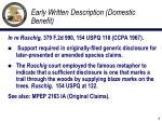 early written description domestic benefit
