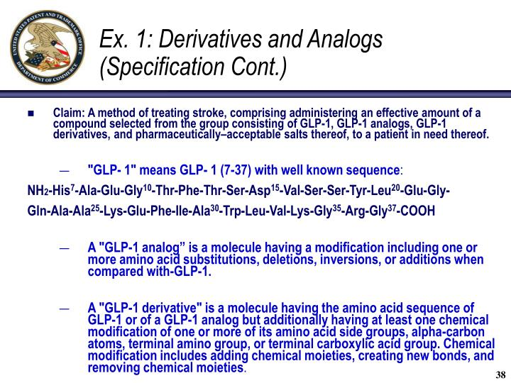 Ex. 1: Derivatives and Analogs (Specification Cont.)