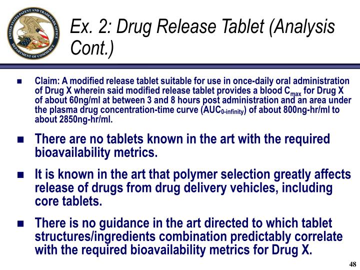 Ex. 2: Drug Release Tablet (Analysis Cont.)
