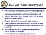ex 2 drug release tablet analysis