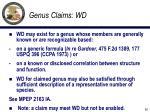 genus claims wd