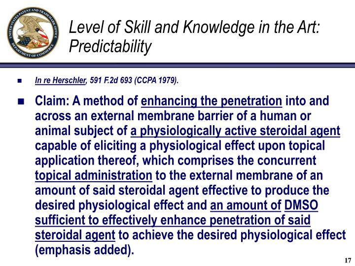 Level of Skill and Knowledge in the Art: Predictability