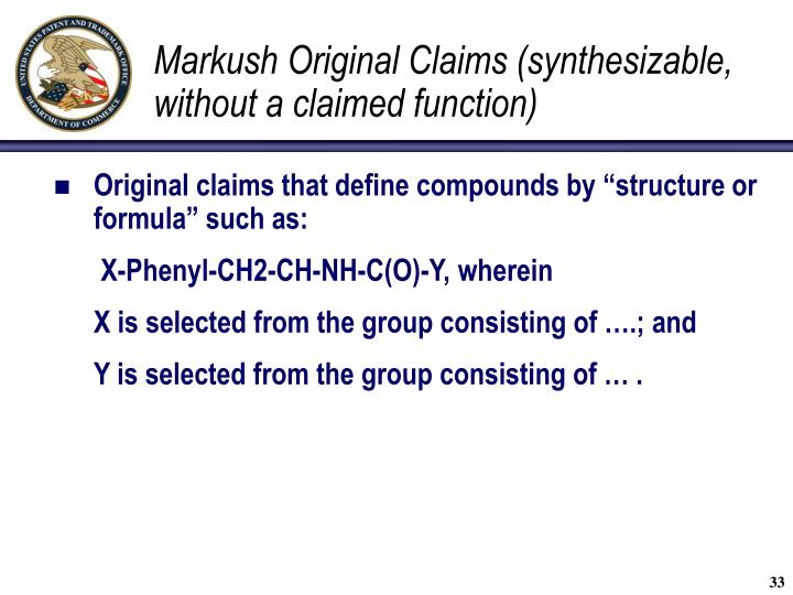 Markush Original Claims (synthesizable, without a claimed function)
