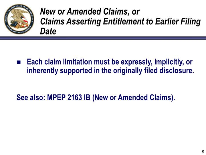 New or Amended Claims, or