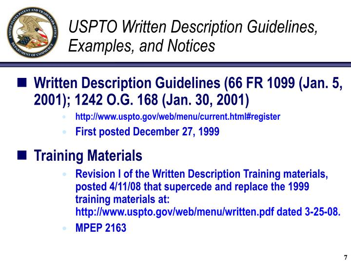 USPTO Written Description Guidelines, Examples, and Notices