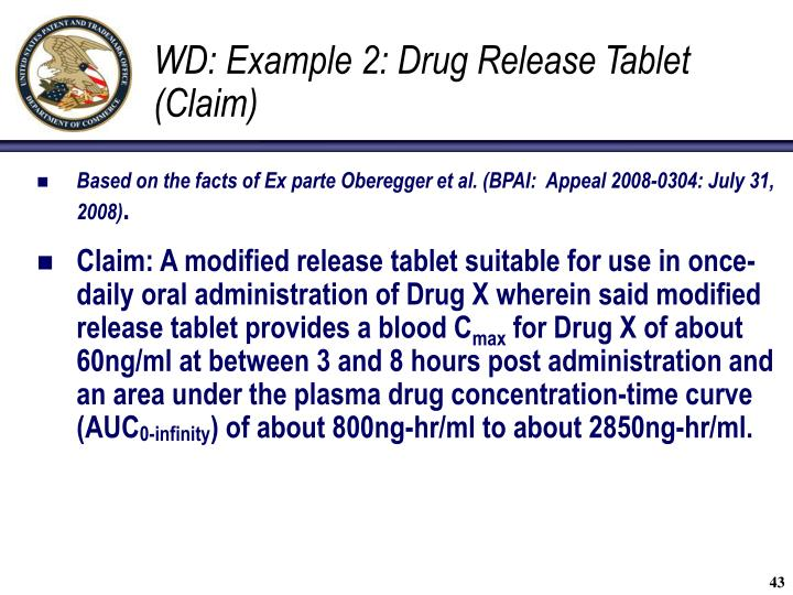 WD: Example 2: Drug Release Tablet  (Claim)
