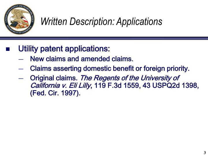 Written Description: Applications