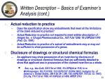 written description basics of examiner s analysis cont2