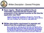 written description general principles
