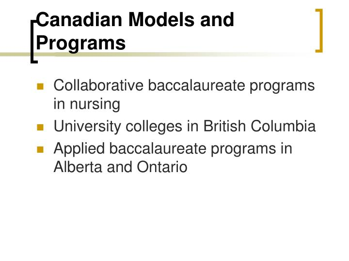 Canadian Models and Programs