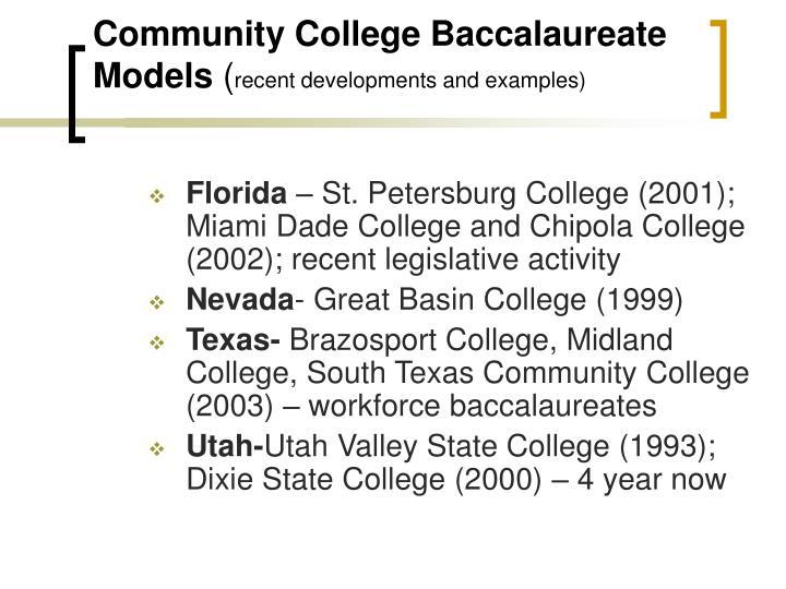 Community College Baccalaureate Models