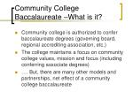 community college baccalaureate what is it