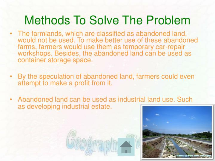 Methods To Solve The Problem
