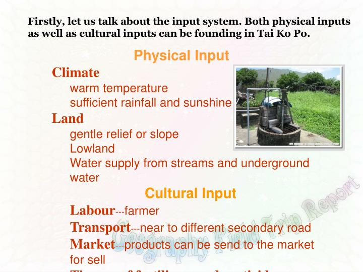 Firstly, let us talk about the input system. Both physical inputs as well as cultural inputs can be founding in Tai Ko Po.