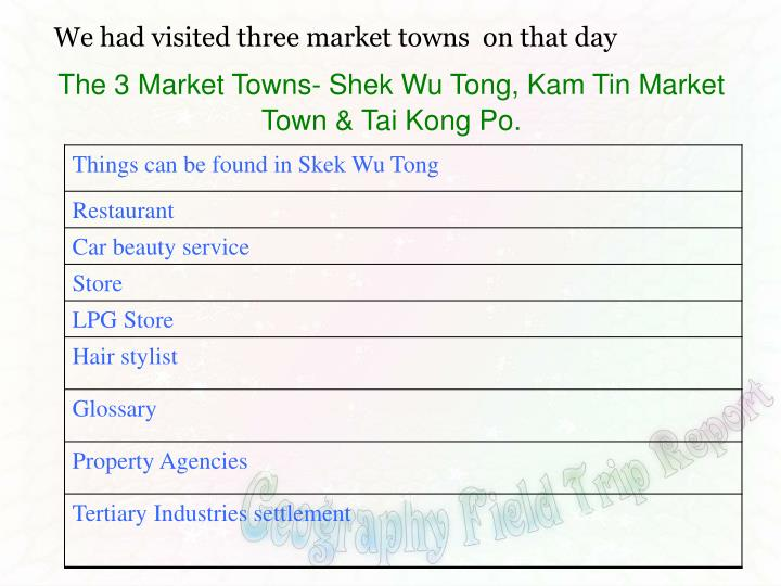 We had visited three market towns  on that day