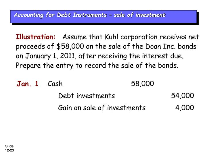 Accounting for Debt Instruments – sale of investment