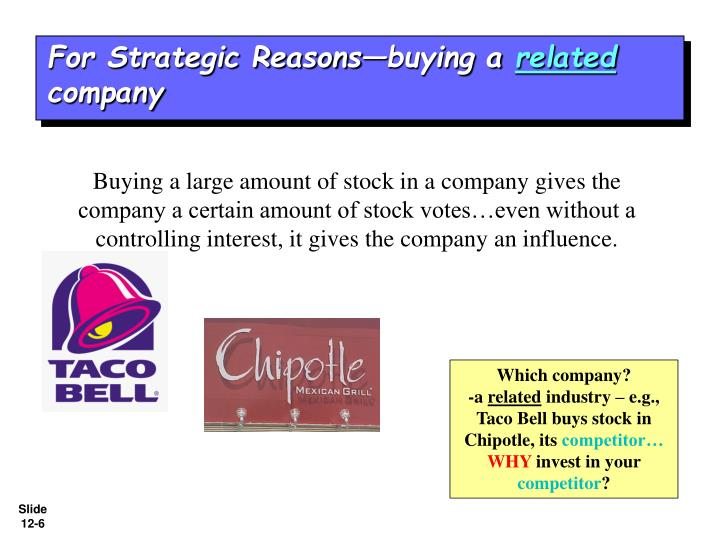 For Strategic Reasons—buying a