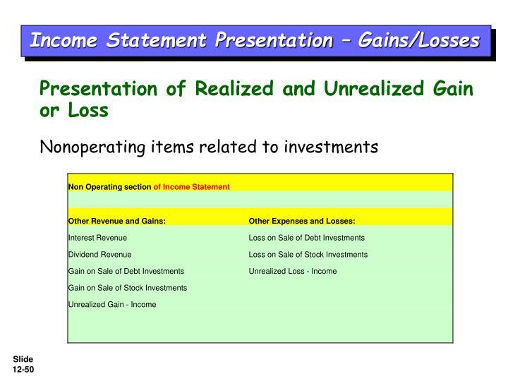 Income Statement Presentation – Gains/Losses