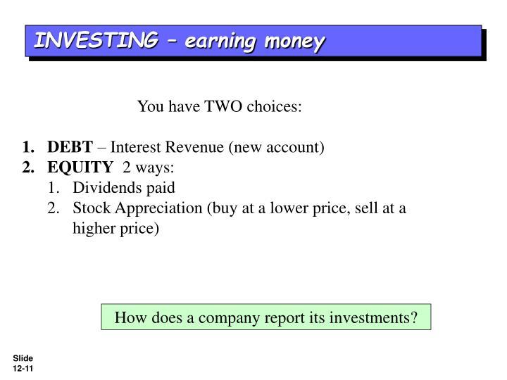 INVESTING – earning money