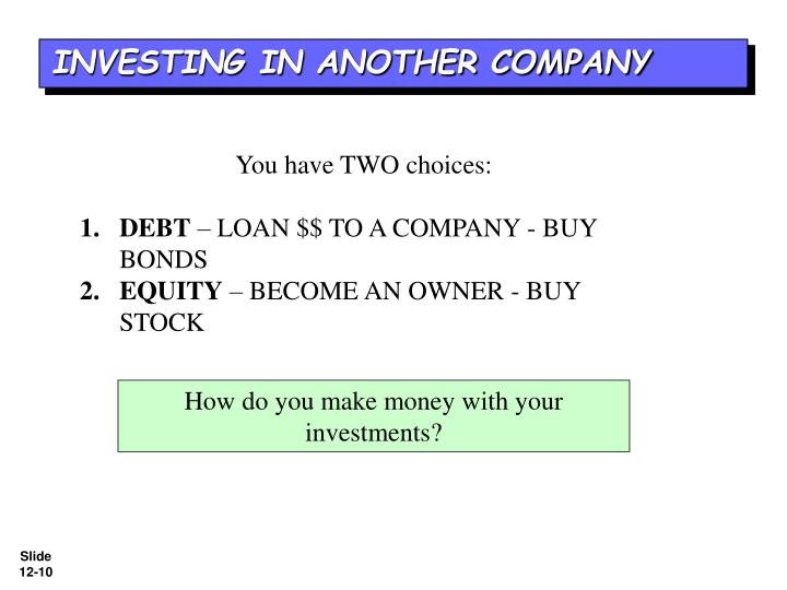 INVESTING IN ANOTHER COMPANY