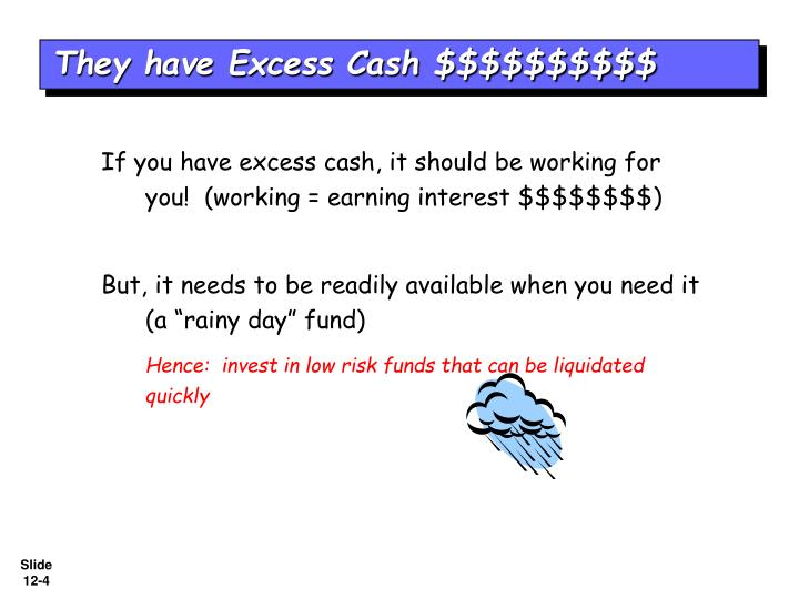 They have Excess Cash $$$$$$$$$$
