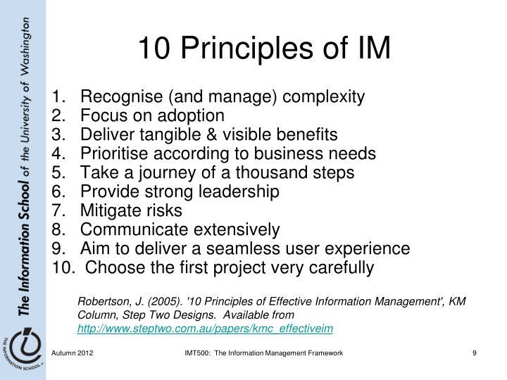 10 Principles of IM