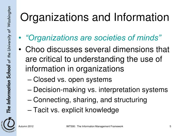 Organizations and Information