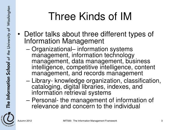 Three Kinds of IM