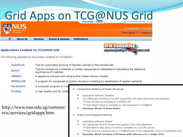 Grid Apps on TCG@NUS Grid