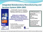 integrated biolaboratory manufacturing and services system 2004 2005