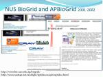 nus biogrid and apbiogrid 2001 2002