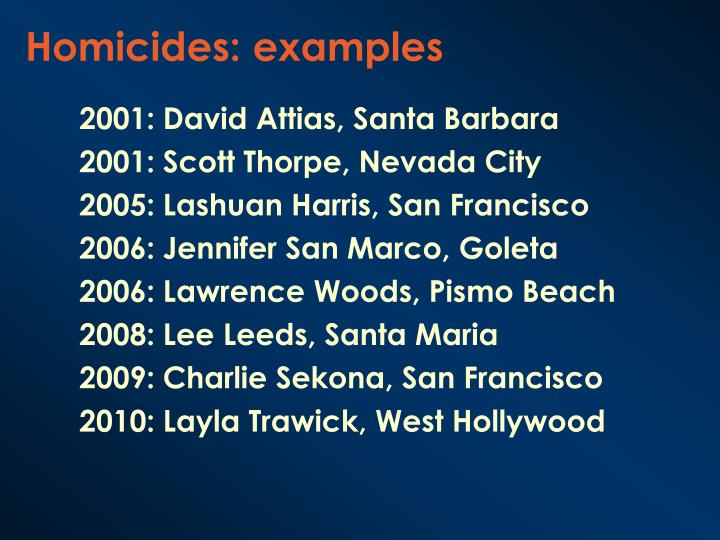 Homicides: examples