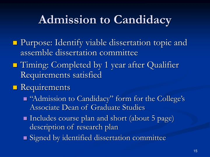 Admission to Candidacy