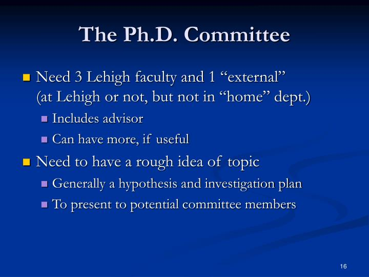 The Ph.D. Committee