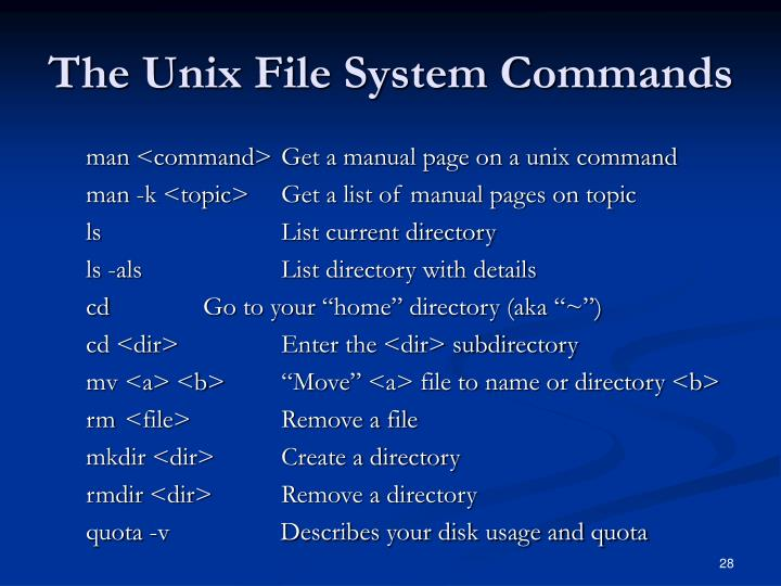The Unix File System Commands