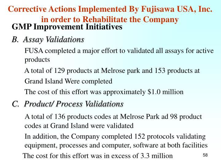 Corrective Actions Implemented By Fujisawa USA, Inc. in order to Rehabilitate the Company