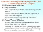 corrective actions implemented by fujisawa usa inc in order to rehabilitate the company1