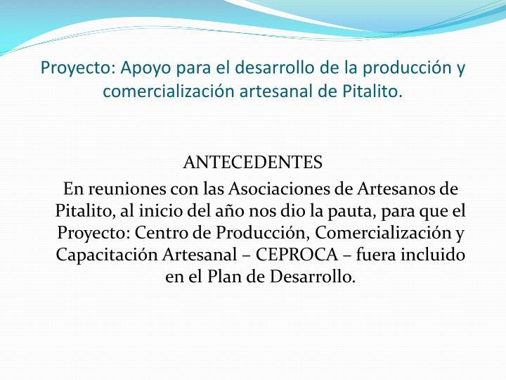 Proyecto: Apoyo para el desarrollo de la producción y comercialización artesanal de Pitalito.