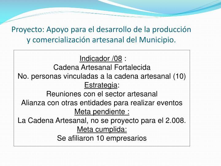 Proyecto: Apoyo para el desarrollo de la producción y comercialización artesanal del Municipio.