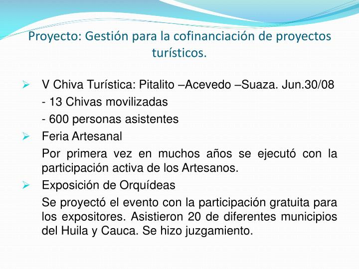 Proyecto: Gestión para la cofinanciación de proyectos turísticos.