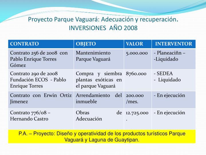 Proyecto Parque Vaguará: Adecuación y recuperación
