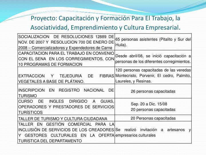 Proyecto: Capacitación y Formación Para El Trabajo, la Asociatividad, Emprendimiento y Cultura Empresarial