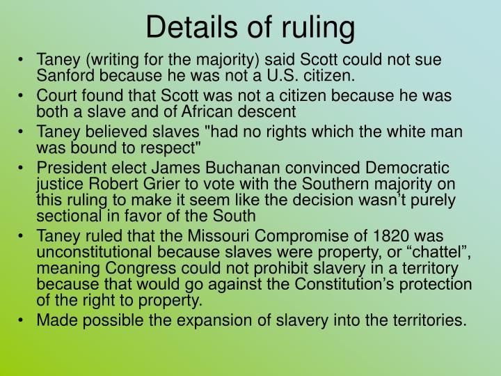 Details of ruling