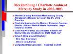 mecklenburg charlotte ambient mercury study in 2002 2003