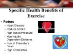 specific health benefits of exercise